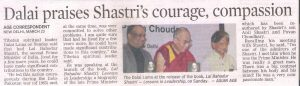 Dalai praises Shastri's courage, compassion