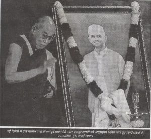 Dalai Lama release the book on Former Prime Minister Lal Bahadur Shastri during a programme in New Delhi