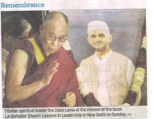 Tibetan Spiritual leader the Dalai Lama at the release of the book Lal Bahadur Shastri: Lessons in Leadership in New Delhi on Sunday.
