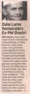 Dalai Lama Remembers Ex-PM Shastri