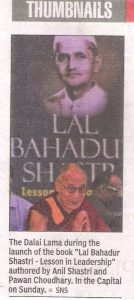 "Dalai Lama during the launch of the book ""Lal Bahadur Shastri- Lessons in Leadership"""