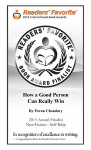 "Readers' Favorite Certificate Awarded in 2015 to the book ""How a Good Person can Really Win"""